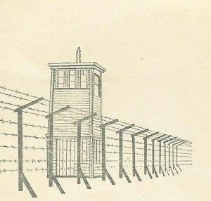 Tegning af et vagttårn i Stutthof